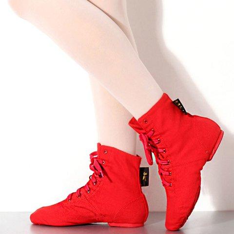 Women Canvas Low Heel Lace Up Dance Shoes