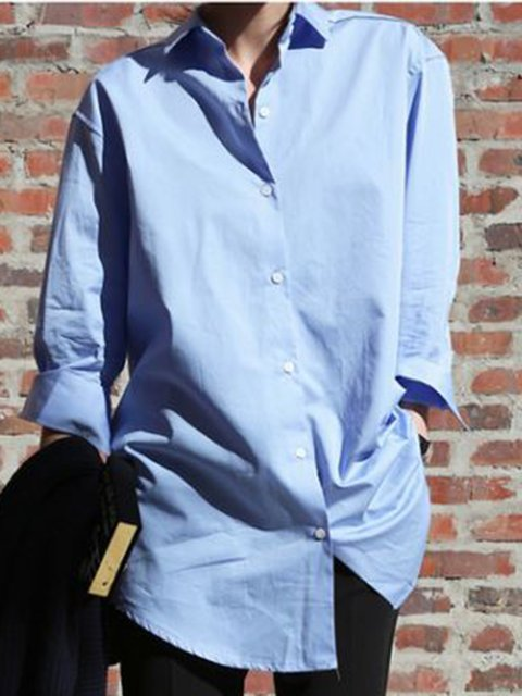 Blue Cotton Plain Long Sleeve Casual Shirts & Tops