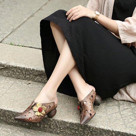 Women's Vintage Spool Heel Cowhide Leather Sandals