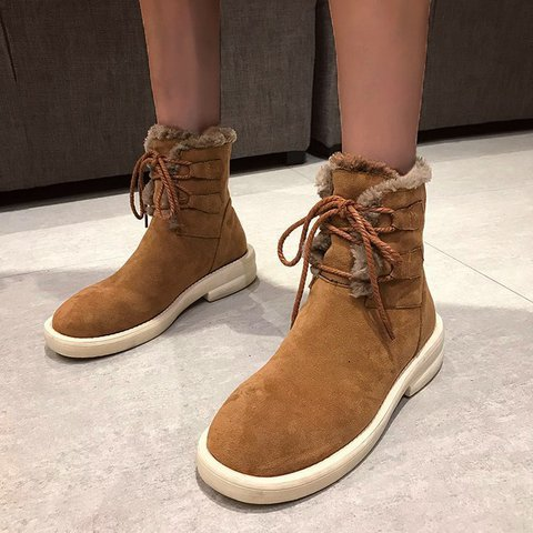 Women's Casual Faux Suede Lace-Up Flat Heel Snow Boots
