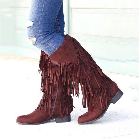 Fringe Low Heel Artificial Suede Boots Womens Taseel Mid-Calf Boots