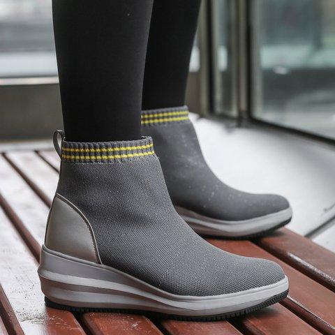 Womens Faux Fur Lining Socks Boots Winter Wedge Heel Shoes