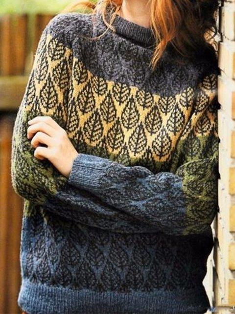 Yellow Plant Long Sleeve Sweater