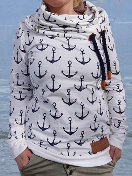 White Floral-Print Casual Sweatshirt