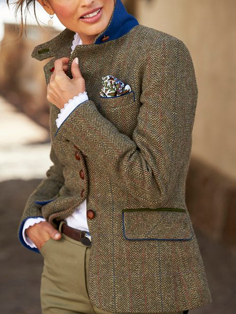 Brown Stand Collar Vintage Plain Wool Blend Outerwear