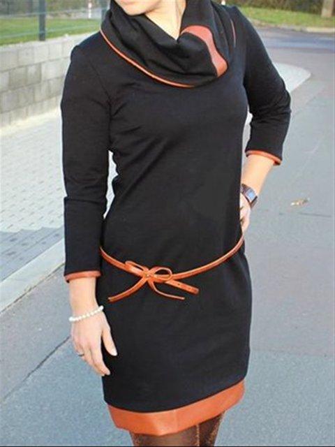 Casual Vintage Black Long Sleeve Plus Size Dress