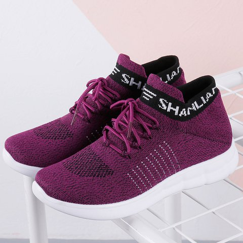 Women Running Outdoor Light Knit Lace Up Flat Casual Sneakers