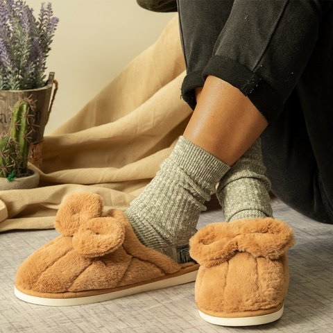 Winter Warm Slippers Bow Fur Slip-On Home Slippers
