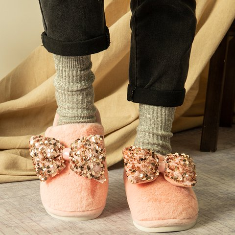 Winter Warm Fur Slippers Bow Closed Toe Slide Sandals