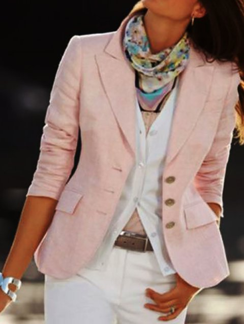Plain Lapel Shift Long Sleeve Jackets
