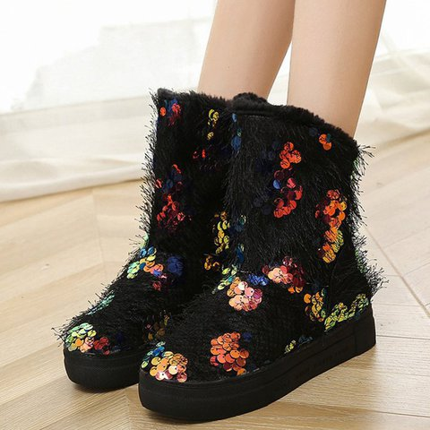 Women Warm Snow Boots Sequin Winter Pu Casual Shoes