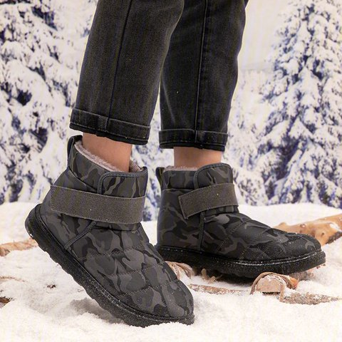 Womens Slip-On Ankle Snow Boots Flat Heel Round Toe Winter Snow Boots
