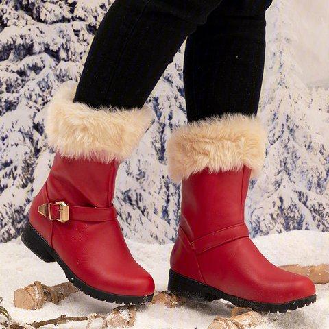 Waterproof PU Winter Warm Boots Womens Buckle Padded Boots