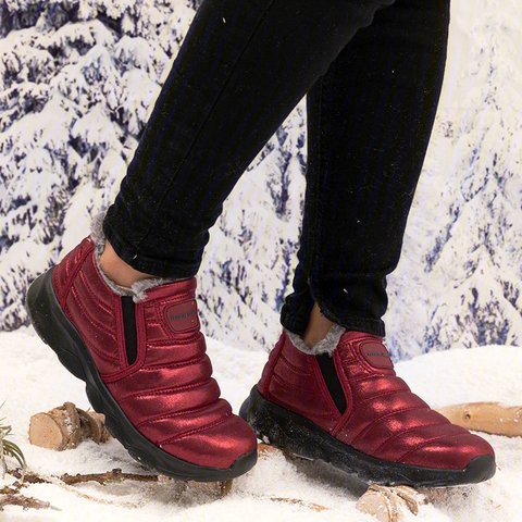Waterproof Snow Boots Flat Heel Slip-On Winter Warm Ankle Boots