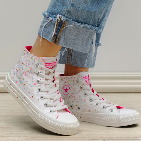 Outdoor Chic Flowers Lace Up Flat Heel Canvas Sneakers