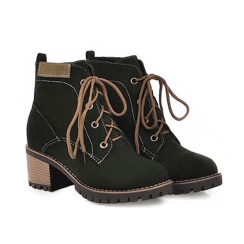 Women's Winter Lace-Up Chunky Heel Ankle Boots