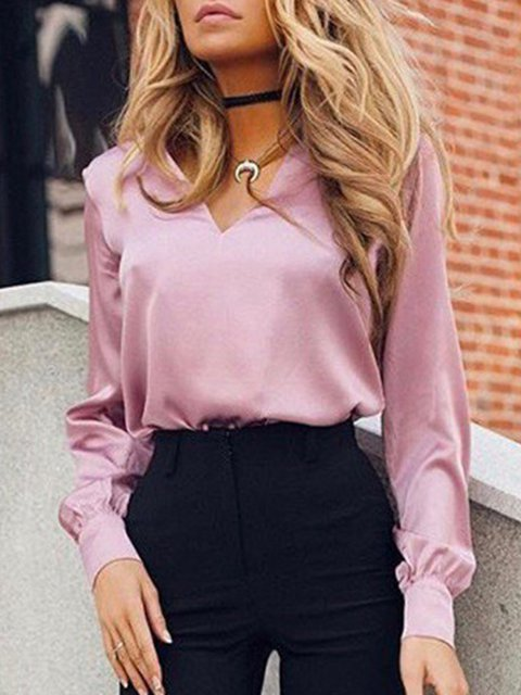 Plus Size Plain Long Sleeve Casual Shirts Tops