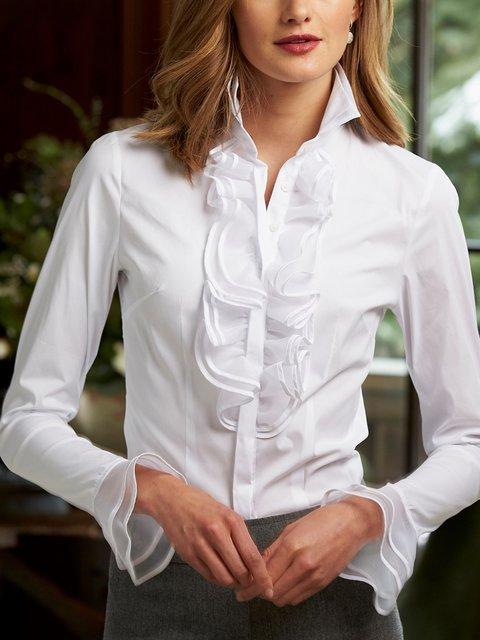 Shawl Collar Cotton-Blend Long Sleeve Elegant Shirts & Tops
