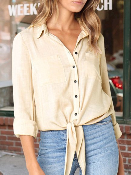 Plus Size Plain Long Sleeve Casual Shirts Tops