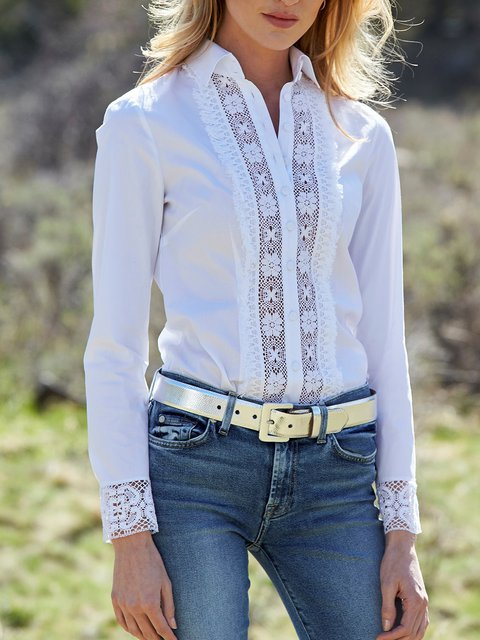 Long Sleeve Cotton-Blend Cutout Shirts & Tops