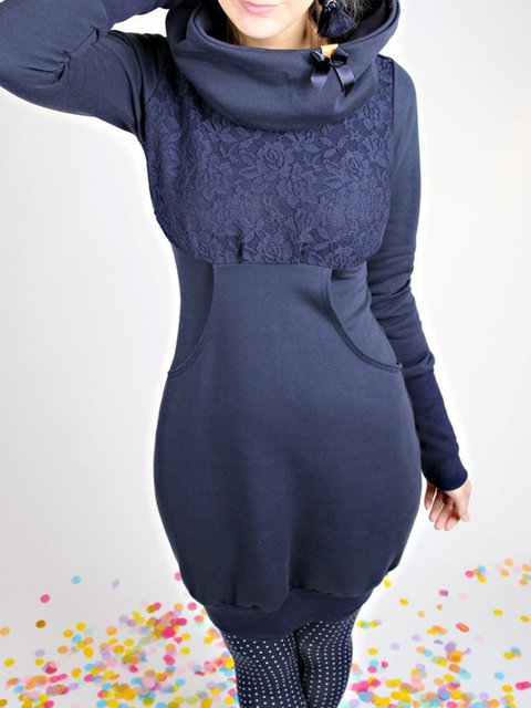 Solid Casual Shift Cotton-Blend Dresses