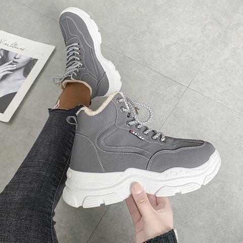 Winter Lace-Up Platform Sneakers Faux Fur Lining Shoes