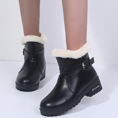 Adjustable Buckle Pu Womens Snow Boots