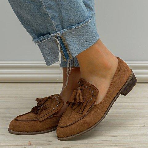 Low Heel Tassel Slip-On Loafers Womens Casual Loafers