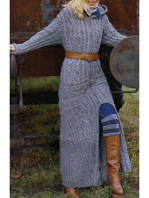 Hooded Long Sweater Plus Size Vintage Cardigan