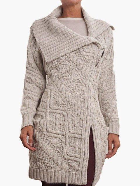 Solid Knit Cardigan Plus Size Vintage Shawl Collar Sweater