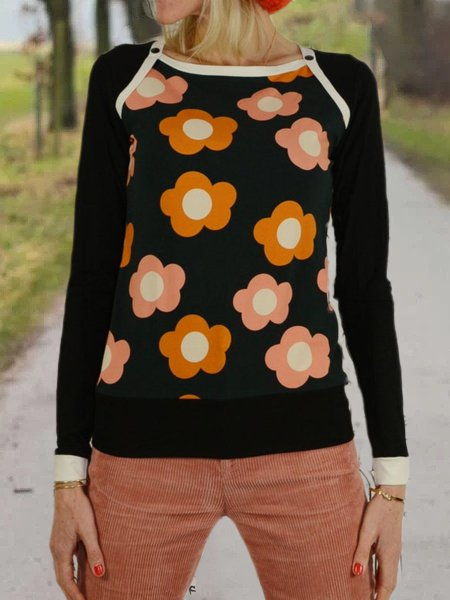 Floral-Print Casual Cotton-Blend Shirts & Tops