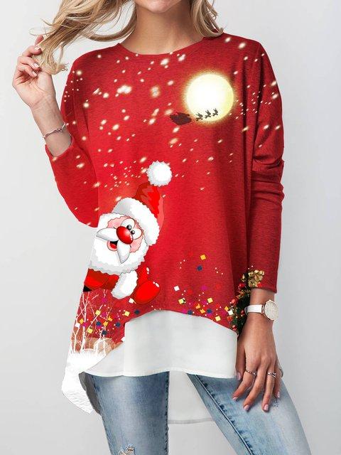 Christmas Long Sleeve Crew Neck Cotton-Blend Shirts Blouses