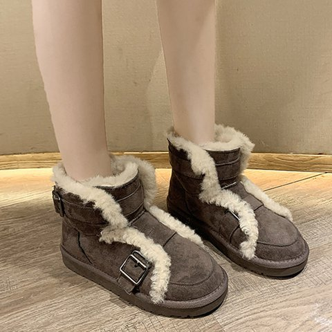 Women Round Toe Warm Boots Casual Winter Artificial Suede Shoes