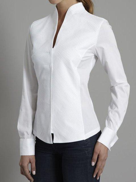 White Casual V Neck Shirts & Tops