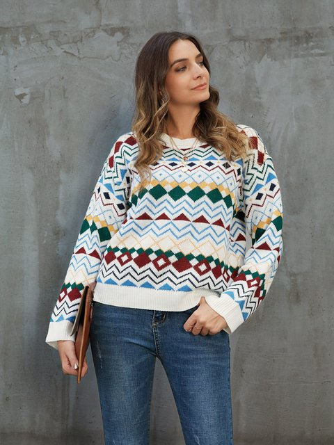 White Geometric Paneled Crew Neck Long Sleeve Sweater