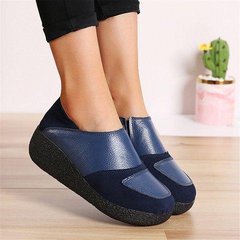 Plus Size Comfy Platform Loafers Slip-On Shoes
