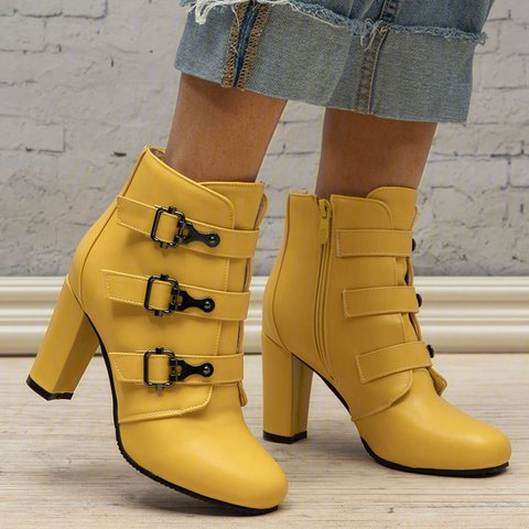 Plus Size Buckle Leather Zipper Chunky Heel Ankle Booties