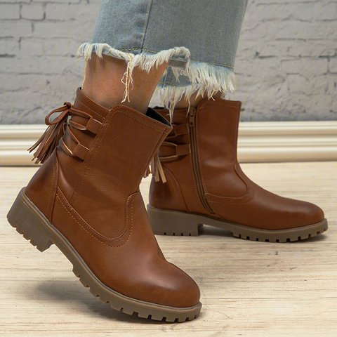 Pu Leather Low Heel Boots Strappy Ankle Booties With Zipper
