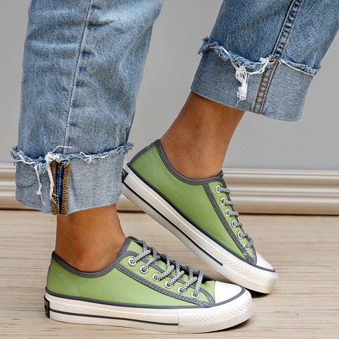 Outdoor Casual Lace Up Flat Heel Canvas Sneakers