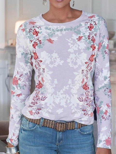 Light Purple Vintage Printed Cotton-Blend Shirts & Tops