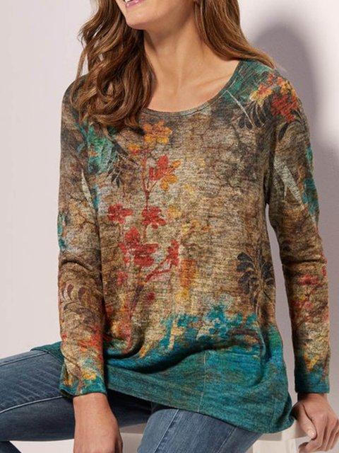 Khaki Cotton-Blend Round Neck Casual Printed Shirts & Tops