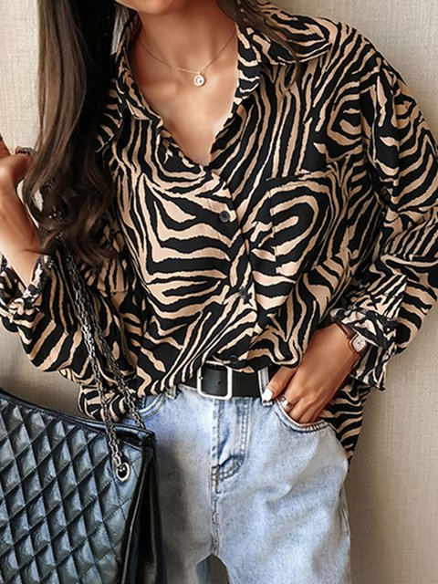 Plus Size Statement Printed Long Sleeve Casual Shirts Tops
