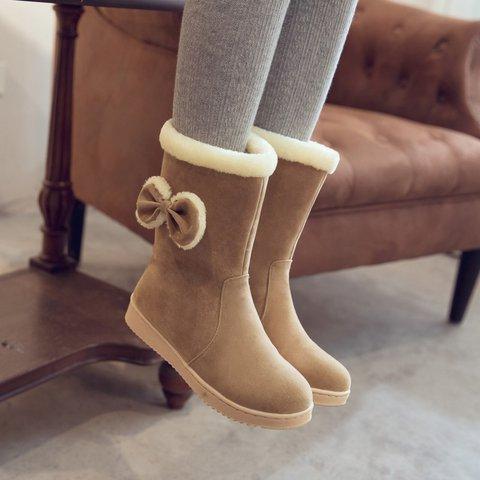 Bowknot Flat Heel Slip-On Snow Boots