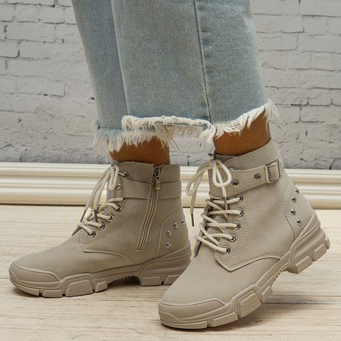 Women Round Toe Casual Block Heel Artificial Suede Lace-Up Martin Boots