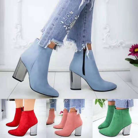 Chunky Heel Pointed Toe Booties Wommens Plus Size Boots