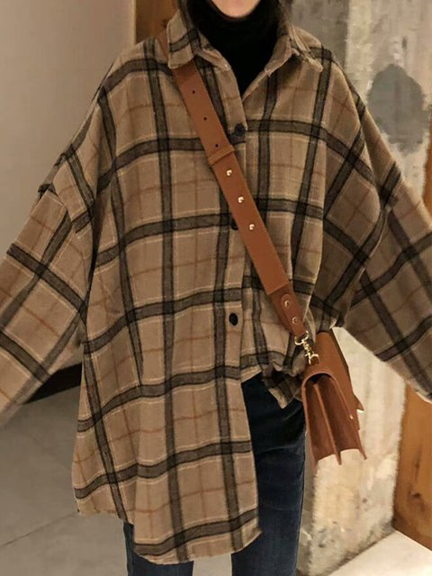 Plus Size Plaid Long Sleeve Casual Shirts Tops
