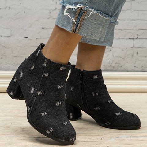 Plus Size Denim Zipper Chunky Heel Ankle Booties