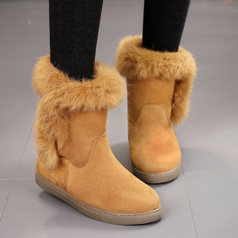 Women Warm Boots Round Toe Flat Heel Casual Winter Artificial Suede Shoes