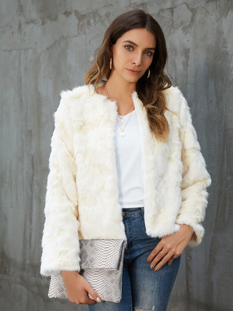 Off White Faux Fur Paneled Long Sleeve Outerwear