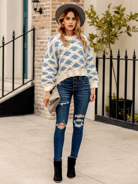 Women Long Sleeve Geometric Shift Crew Neck Sweater